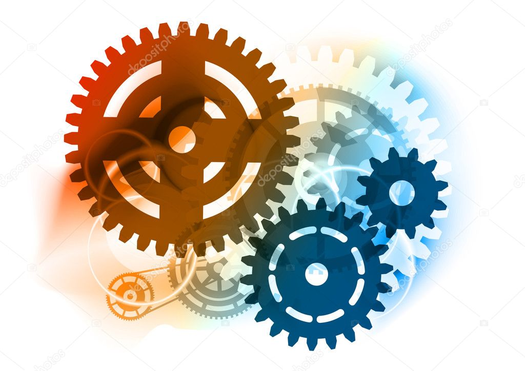 Cogwheel on the color background — Stock Vector #4832124