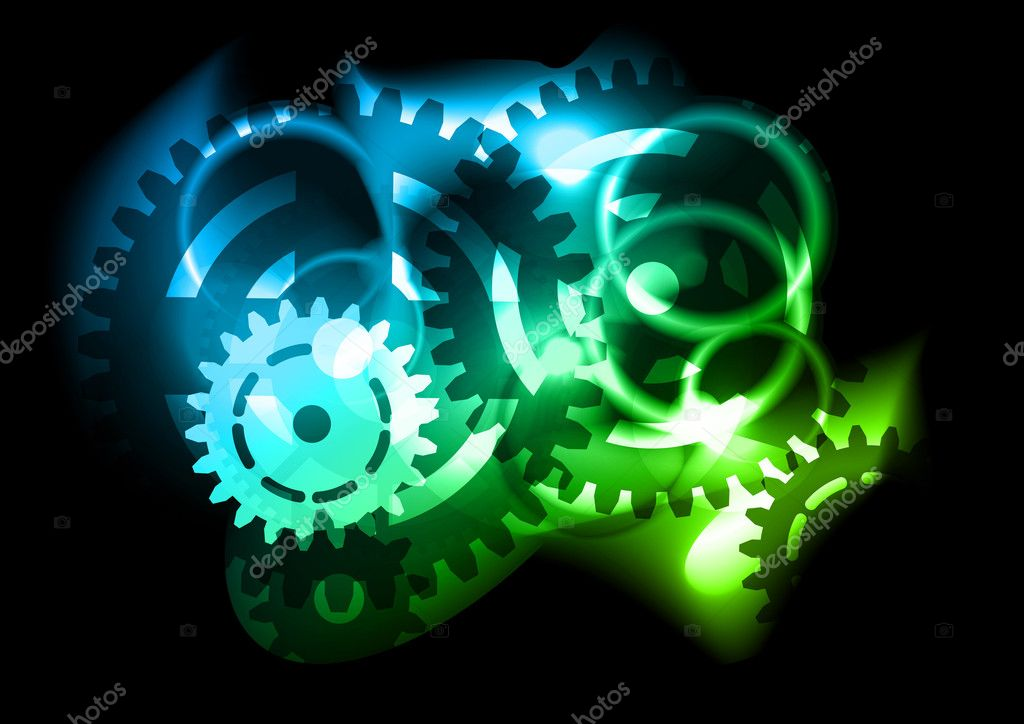 Flashing cogwheel on the black background — Stock Vector #5335835