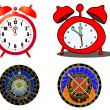 Stock Vector: Various clock and astronomical clock
