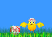 Easter egg and chicken - vector — Cтоковый вектор