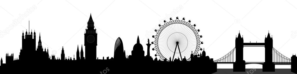 London skyline - Big Ben, London Eye, Tower Bridge, Westminster - vector — Stock Vector #4339623