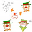 Various clowns - vector — Stock Vector