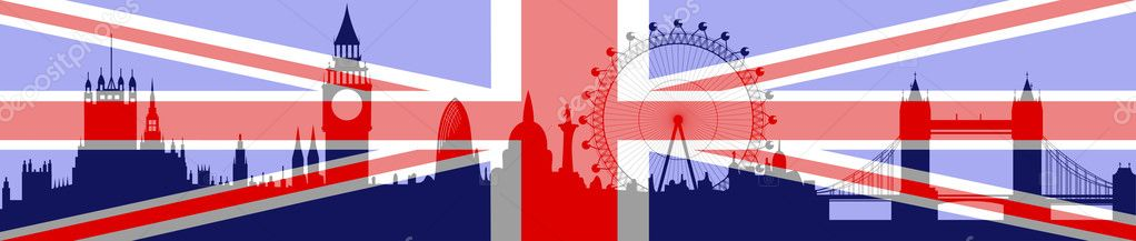 Illustration of the London skyline with flag on background - vector — Stock Vector #5331883