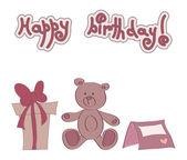 Teddy bear with gift — Stock Vector