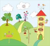 Fairyland. vektör çizim — Stok Vektör
