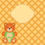 Vector orange card with teddy bear — Stock Vector