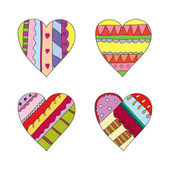 Hand drawn colorful hearts — Stock Vector