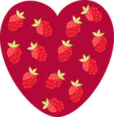 Heart with strawberries — Stock Vector