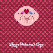Valentine's card with bird — Stock vektor #4833556