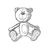 Hand drawn vintage teddy bear — ストックベクタ