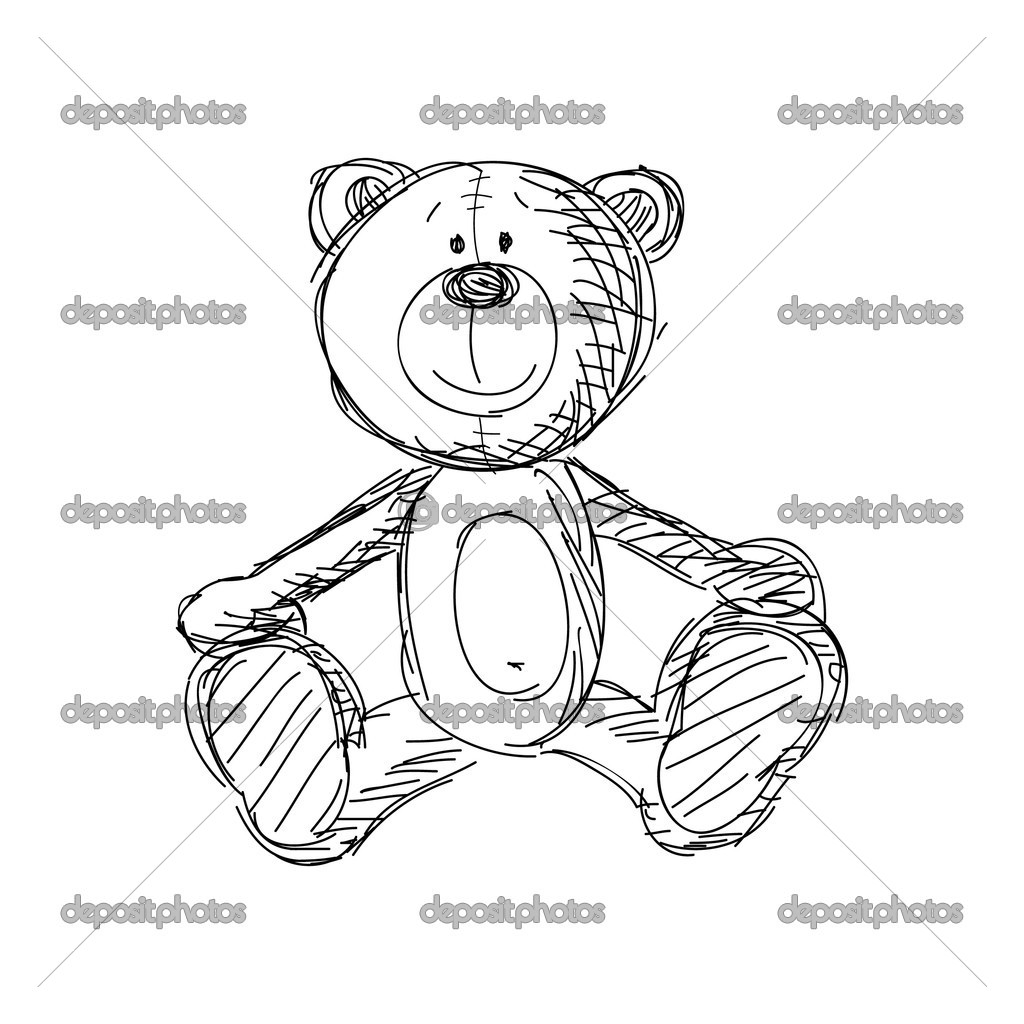 Hand drawn vintage teddy bear — Stock Vector #4965831