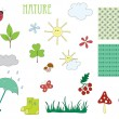 Hand drawn elements of nature — Stock Vector