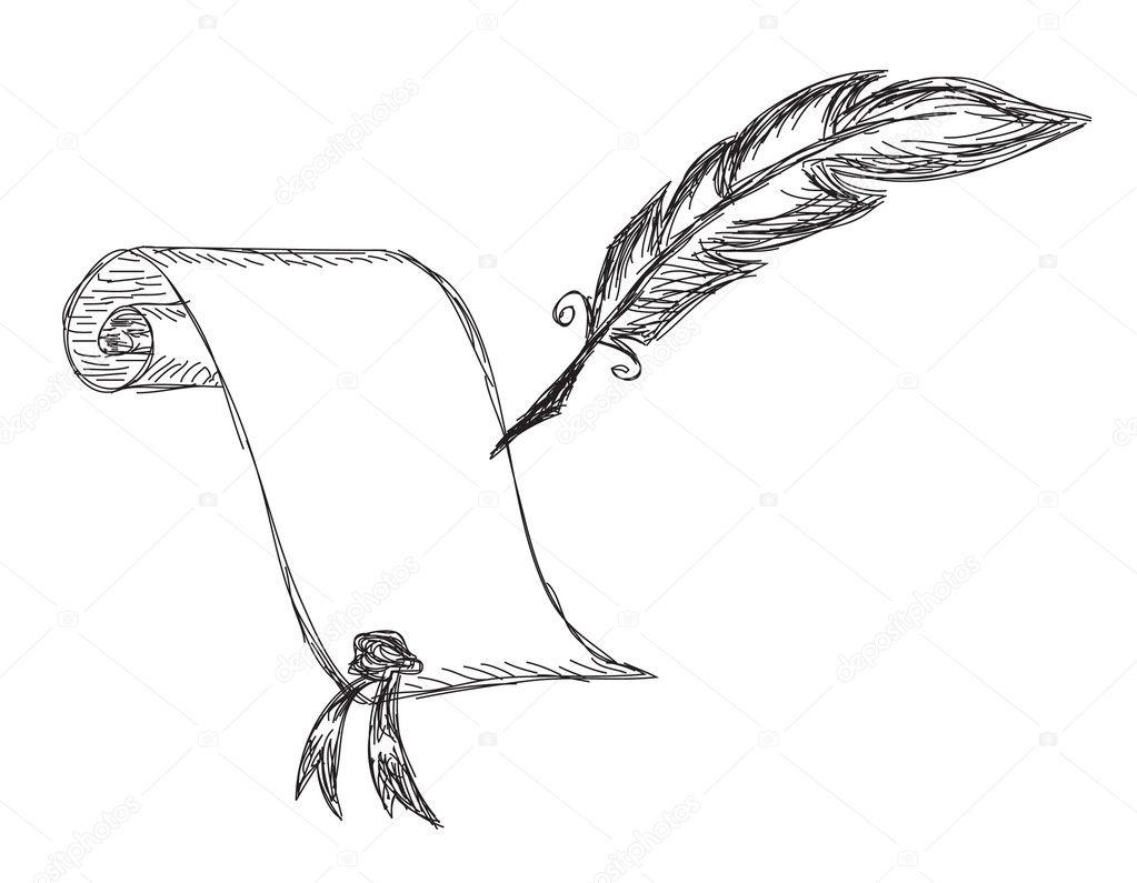 Картинка чернильница и перо