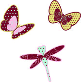 Decorated butterflies and dragonfly — Stock Vector