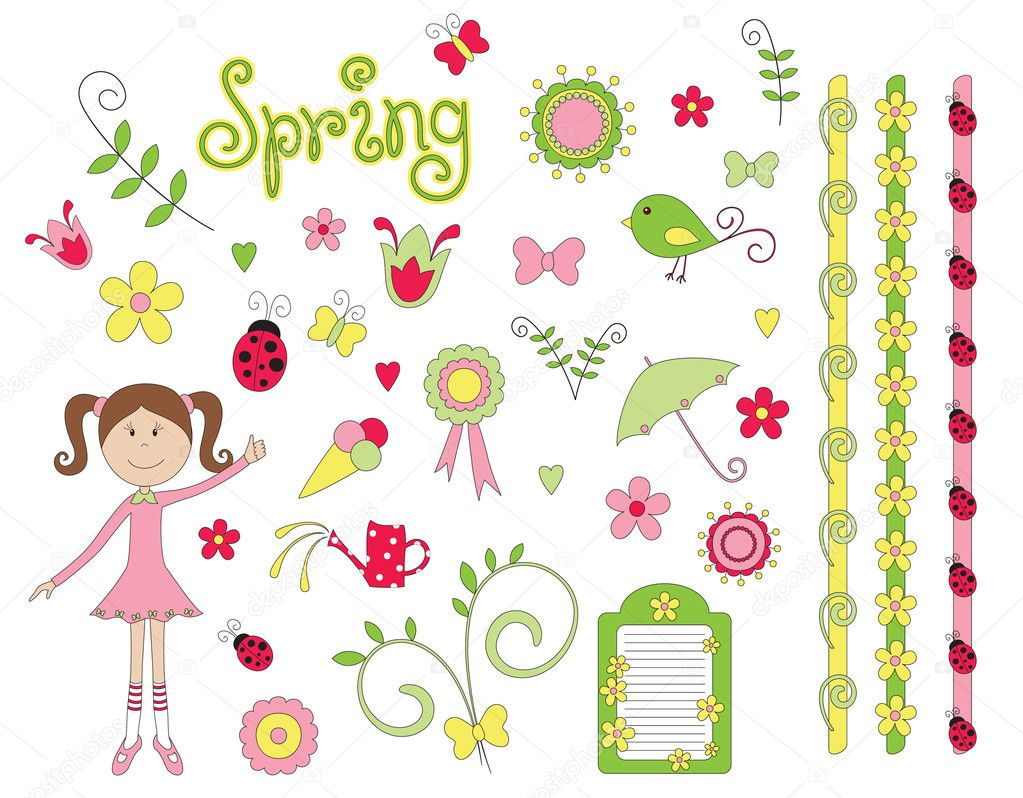Hand drawn spring elements  Stock Vector #5312091