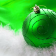 Christmas green bauble — Stock Photo