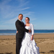 Wedding photo session in irish scenery — Stock Photo
