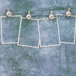 Stock Photo: 4 frames on a rope with clothespins against grange wall