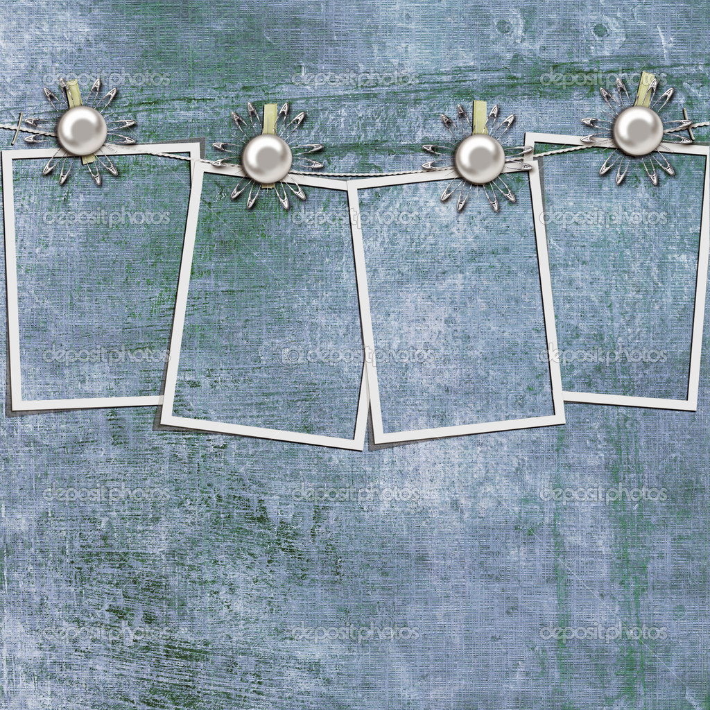 Polaroid photos hanging on a rope with clothespins against blue grange background — Stock Photo #4000799