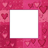 Pink frame with hearts and bauble — Stock Photo