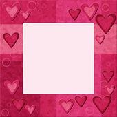 Růžový rám se srdíčky — Stock fotografie