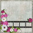 Royalty-Free Stock Photo: Page layout photo album with flowers and filmstrip