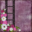 Page layout photo album with flowers and filmstrip — Stock Photo