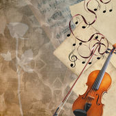 Violin, rose and sheet music — Stock Photo