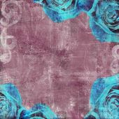 Vintage Floral Grunge Scrapbook Background with rose — Photo
