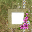 Stock Photo: Old wallpaper background with frame and flowers corner