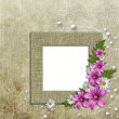 Old wallpaper background with  frame and flowers corner — Stock Photo