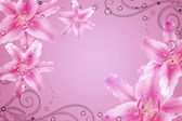 Abstract background with pink flowers, perls — Stock Photo