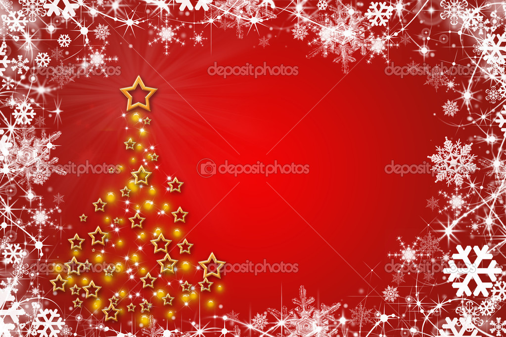 Christmas Tree with stars on red background  Stock Photo #4121204