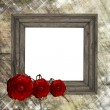 Floral wood frame — Stock Photo