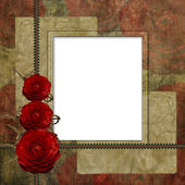 Red Frame with red rose on the brown background — Stock Photo