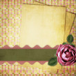 Vintage card from old paper and rose on the abstract background — Stock Photo