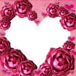 rosor hjärta ram — Stockfoto