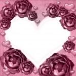 Roses heart frame — Stock Photo