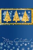 Blue christmas card — 图库照片