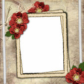 Vintage background with frame for photo and flower composition — Stok fotoğraf