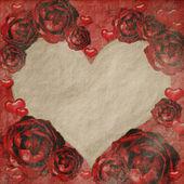 Red grunge roses frame — 图库照片