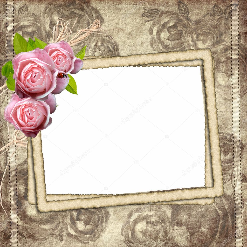 Vintage background with three frames for photo and roses  Stock Photo #4459636