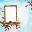 Christmas card in ancient style for a photo, congratulations and — Stock Photo #4515985
