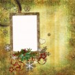 Christmas card in ancient style for a photo, congratulations and — Stock Photo #4515990