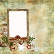 Christmas card in ancient style for a photo, congratulations and - Stock Photo