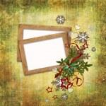 cartolina di Natale in stile antico per una foto, complimenti e — Foto Stock