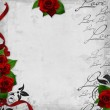 Romantic vintage background with red roses and hearts (1 of set — Stock Photo #4570959