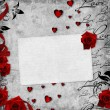 Romantic vintage background with red roses and hearts (1 of set — Stock Photo