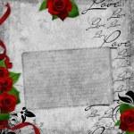 romantische vintage achtergrond met rode rozen — Stockfoto #4571041