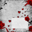 Foto de Stock  : Romantic vintage background with red roses and hearts (1 of set